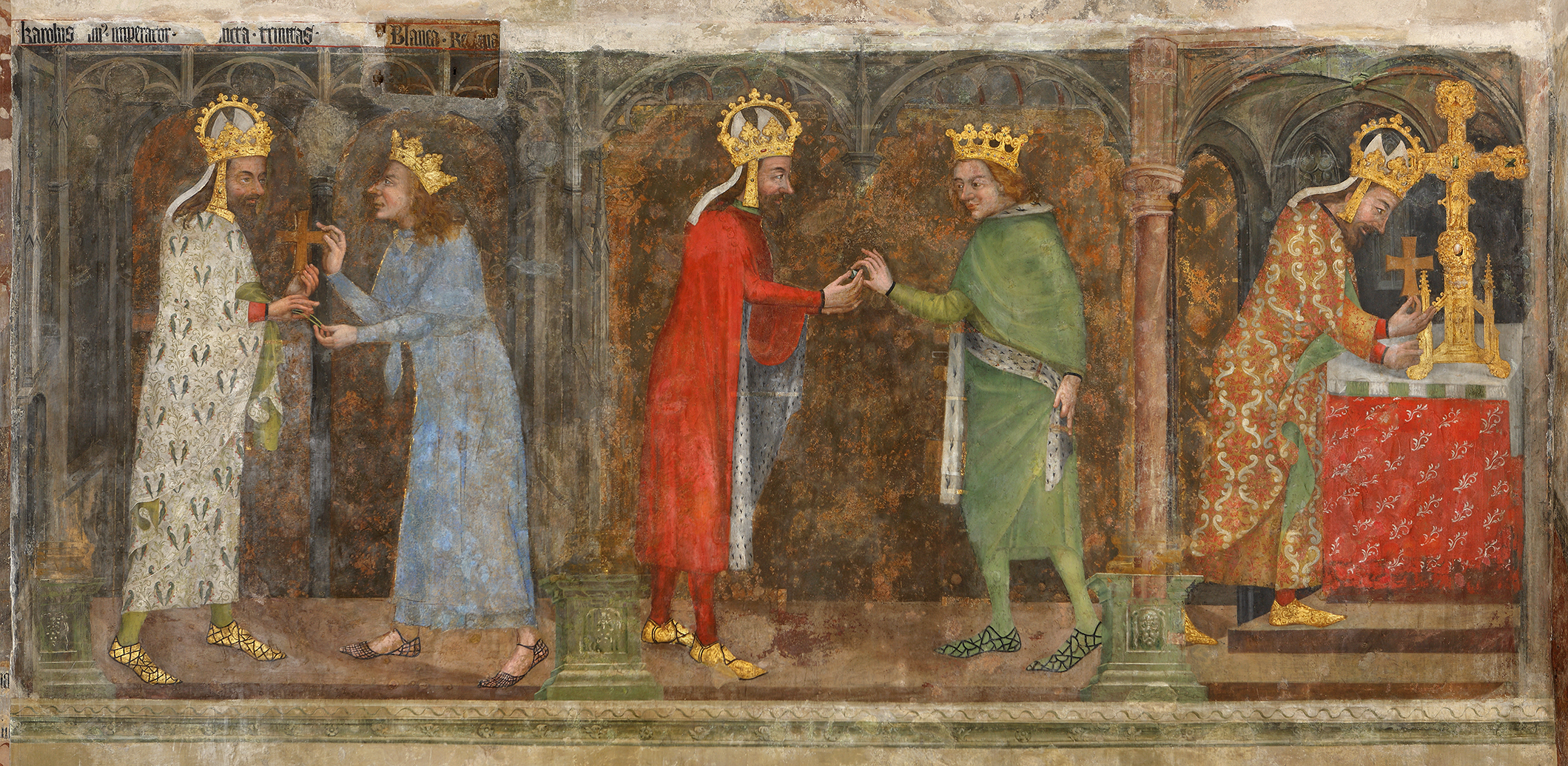 Ostatková scena, na které je zobrazen císař Karel IV.