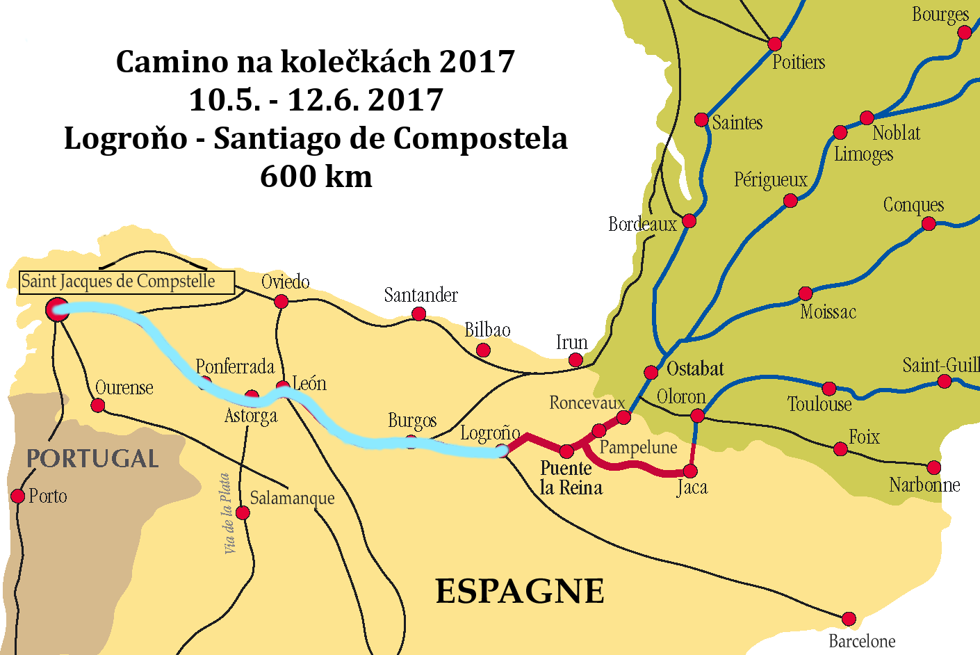 Plánovaná trasa Logroňo - Santiago de Compostela