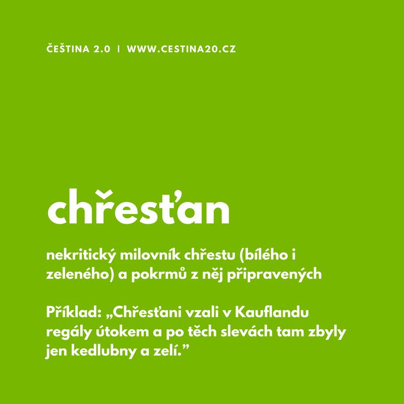 Chřesťan: nekritický milovník chřestu (zeleného i bílého) a samozřejmě i pokrmů z něj