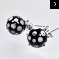 Černé náušnice, sklo, stříbro #3