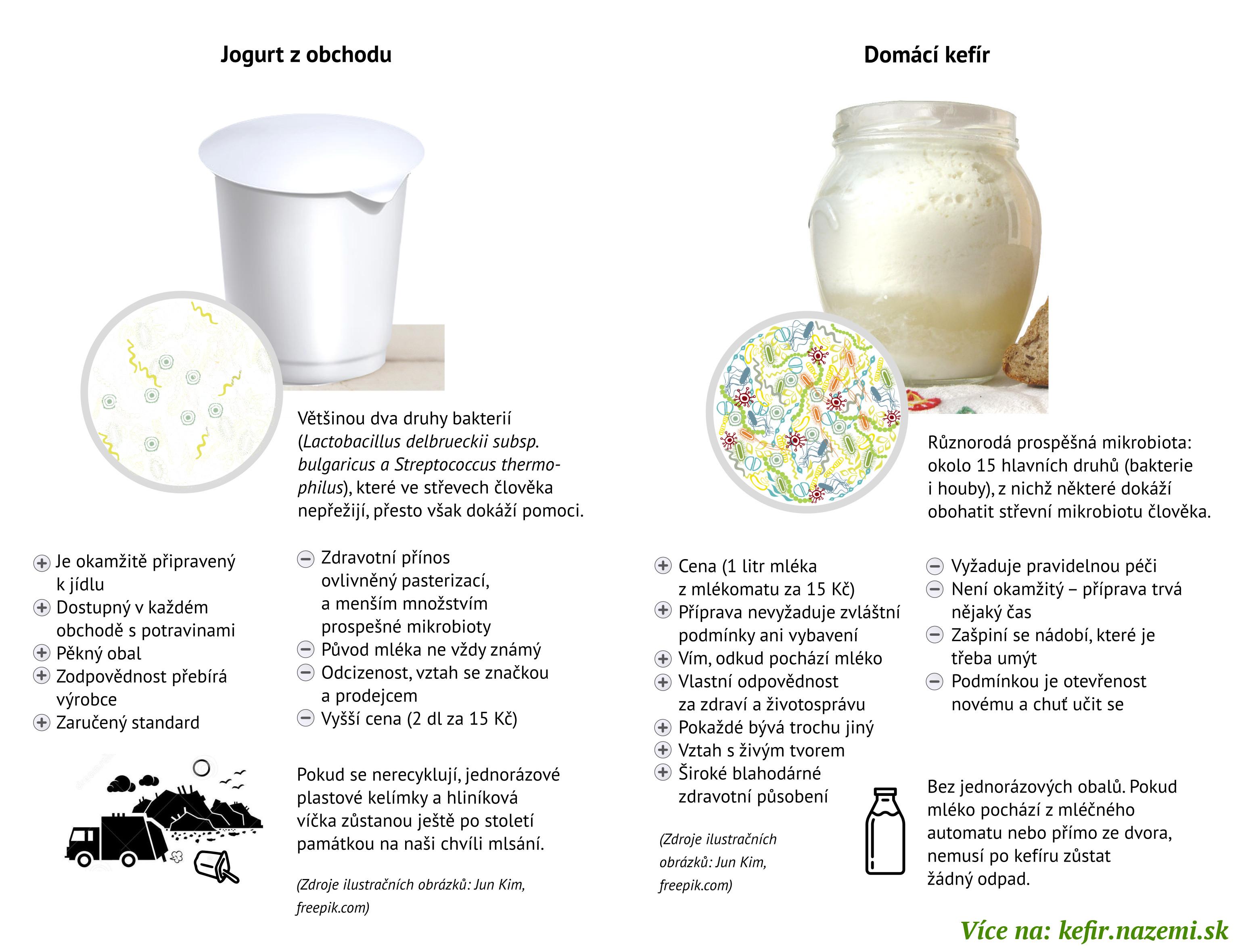 Infografika - porovnání domácího jogurtu s kefírem