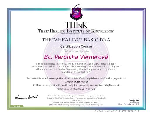 certifikát ze základního kurzu Thetahealing®