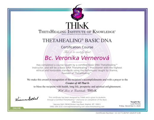 certifikát z pokročilého kurzu Thetahealing®