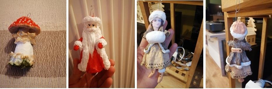 Ozdoby z vaty a vatová panenka